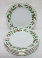 5 China Pearl Fine China NOEL Salad Plates Holly & Berries Christmas Gold Trim