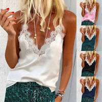 Women Casual V-Neck Sleeveless Loose Lace Vest Camisole Tank Blouse T-Shirt Tops