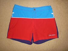 BILLABONG 10 / WOMENS SHORTS WOMENS BOARDIES BLUE RED PRE OWNED