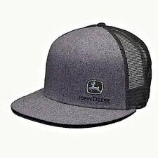 JOHN DEERE CHARCOAL FLAT BILL SIDE LOGO TRUCKERS PUNK EMO HAT CAP
