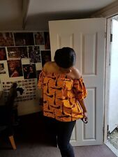Handmade Africa print off shoulder print top, available in Uk sizes 4 to 24