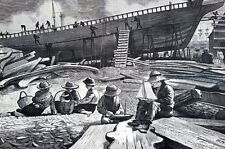 Winslow Homer 1873 SHIP BUILDING GLOUCESTER HARBOR Boys Matted Antique Engraving