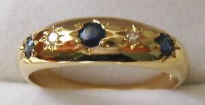 GENUINE 9K 9ct SOLID GOLD  NATURAL SAPPHIRE & DIAMOND ANNIVERSARY GYPSY RING
