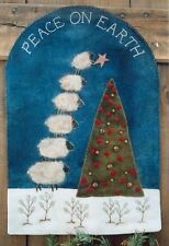 PRIMITIVE WOOL PENNY RUG PATTERN PEACE ON EARTH SHEEP NEEDLE FELTING *NEW*