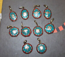 Tibetan Brass Turquoise Red Coral Inlay Carved Mantra OM Oval Amulet Pendant