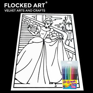Velvet Colouring Art Princess Very Large 50cm x 35cm 20 Inches x 14 inches