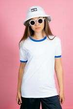 retro sailor style white & Blue neck tshirt