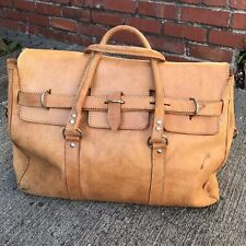 Large Vintage leather carry on overnight bag Duffle Duffel