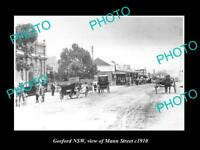 OLD LARGE HISTORIC PHOTO OF GOSFORD NSW, VIEW OF MANN STREET c1910