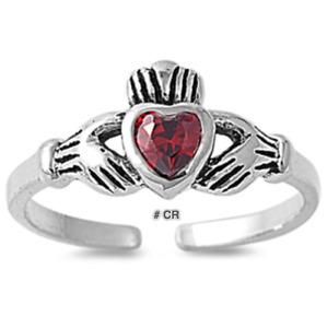 """""""NEW"""" STERLING SILVER.925  ADJUSTABLE IRISH CLADDAGH TOE RINGS CHOICE OF COLORS"""