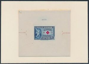 """ECUADOR #C131P DIE PROOF ON INDIA ON CARD W/ CONTROL # """"RED CROSS"""" BS3579"""