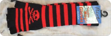 Black/RED - Skull Crossbones Striped Long Fingerless Magic Gloves FLIRT  new