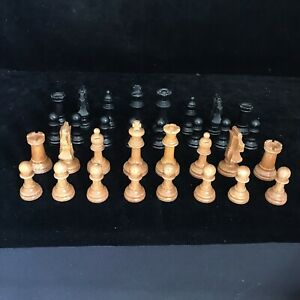 1970s Lovely Set Of Vintage Wooden CHESS PIECES 7CM Spanish Wood