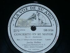 VIOLIN 5 x 78 rpm RECORDS Spain VsA JASCHA HEIFETZ Concierto BEETHOVEN Toscanini