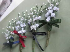Back By Popular Demand! Artificial White Heather Buttonhole wi' Satin Ribbon Bow