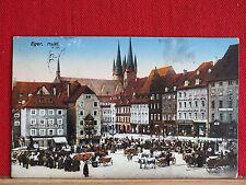 Farbkarte - Eger / Cheb - Markttag - gel. 1916 - Karlovarský kraj - Pferdewagen
