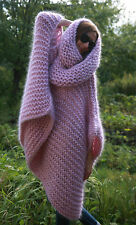 M-XXXL  Premium Mohair Poncho whith neck Hoodie hand knit Pink