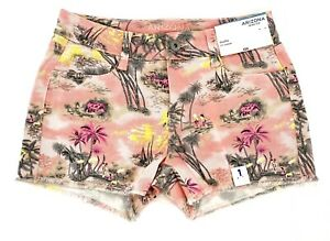 Arizona Jean Co Women's Size 1 Shortie Shorts Hawaiian Denim Pink Palm Trees