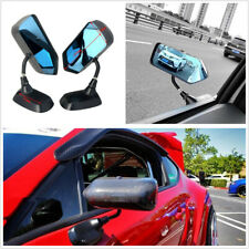 2X F1 Style Real Carbon Fiber Blue Mirror Racing Drift Car Side Rear View Mirror