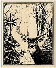 Enchanted Forest Christmas DEER Wood Mounted Rubber Stamp PENNY BLACK 4395K New