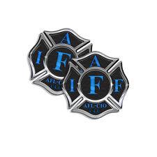 "IAFF Sticker Decals 2 pack Firefighter Intl Maltese Cross Black w Blue 4"" wide"