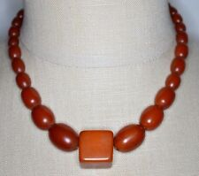 Vintage Art Deco Amber BAKELITE TESTED Bead Beaded Choker Necklace 36 grams