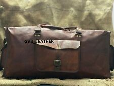 Leather Bag Horizontal Travel Men Duffle Gym Vintage Weekend Luggage Overnight