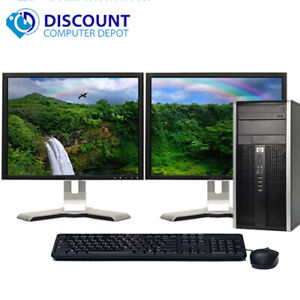 "HP Elite/Pro Desktop Computer PC i3 8GB 500GB Dual 19"" LCD's Wifi Windows 10"