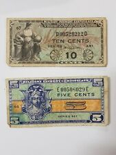 LOT OF 2 US MILITARY PAYMENT CERTIFICATES MPC NOTES VINTAGE OLD 5 10
