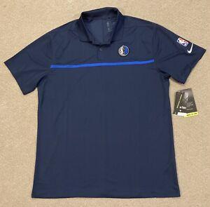 Nike NBA Dallas Mavericks Polo Shirt Black Mens Size Large CN4120-010 MSRP $75