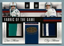 DAN MARINO TROY AIKMAN 2006 LEAF CERTIFIED FABRIC OF THE GAME DUAL PATCH /15