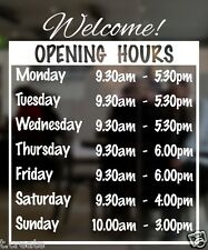 OPENING HOURS Designer Decal For Shop Customizable Store Detail REGULAR Size.