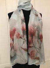 "100% Pure Silk Ladies /women Magnolia Pattern Long Scarf  66""/42""/ Brand New"