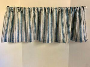 Valance Blue Gray Stripe Farmhouse Custom Made Window Treatment Magnolia Fabric