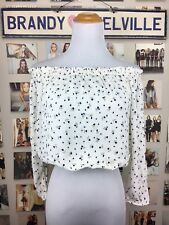 Rare! Brandy Melville White Blue floral off shoulder Maura Crop Peasant top Nwt