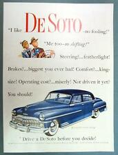 Original 1950 De Soto Ad featuring Blue 2 Tone Custum 4 Door Sedan