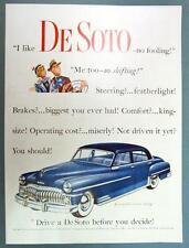Original 1950 De Soto Ad featuring Blue 2 Tone Custum 4 Door Sedan