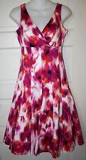 Chetta B Sz 2 Sleeveless Cotton Dress Lined Gored Flare Skirt Retro Mad Men NWOT