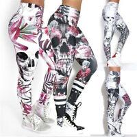 Women Leggings Halloween Skull Printed High Waist Yoga Pants Skinny Trousers