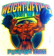Original Vintage Weightlifting Iron On Transfer
