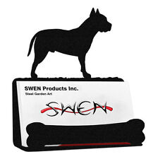 SWEN Products AMERICAN STAFFORD PIT BULL Dog Black Metal Business Card Holder
