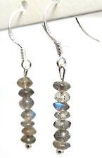 """1.5"""" Long SOLID 925 Sterling Silver Genuine Labradorite Nuggets Hook Earrings"""