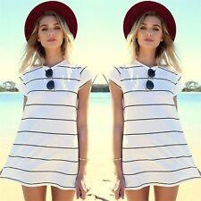 Unbranded Cotton Short Sleeve Striped Dresses for Women