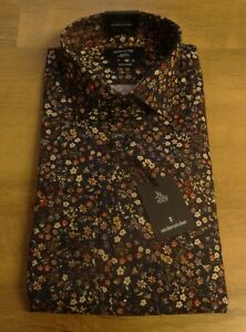 Seidensticker Mens Navy Floral Liberty Print Tailored Shirt Size 15.5 New