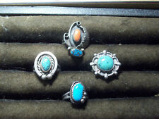 Vintage Navajo Native Sterling Silver Turquoise Coral Rings Lot of 4