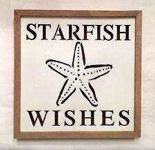 STARFISH WISHES lighted LED Wall Plaque Sign Coastal Beach Nautical Decor