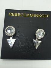 $48 Rebecca Minkoff Core Inverted Crystal Earring Silver Tone RM10