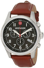 Wenger 0543.102 Black Dial Brown Leather Strap Chronograph Men's Watch