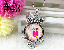 HOT OWL Silver Plated CHAIN NECKLACE Alloy & Pendants