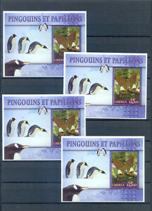 LIBERIA PENGUINS  AND BUTTERFLIES 4  BLOCKS  PERFORED   MNH
